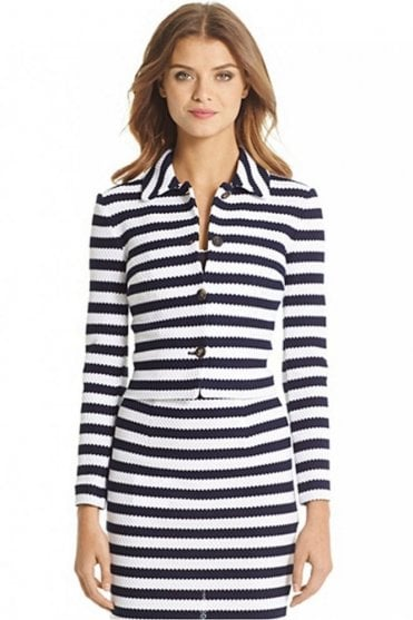 Lacie Striped Knit Jacket in White/Navy
