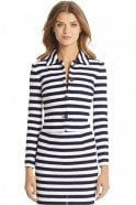 Diane Von Furstenberg Lacie Striped Knit Jacket in White/Navy