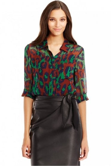 Lorelei Two Chiffon Blouse in Leopard Medium Green