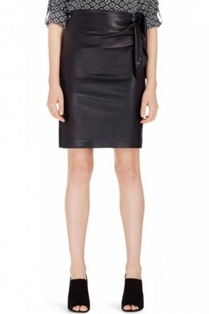 Roxanne Leather Combo Pencil Skirt in Black