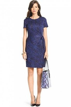Zoe Short Sleeved Silk Jersey Dress in Grain Shadow Large Blue