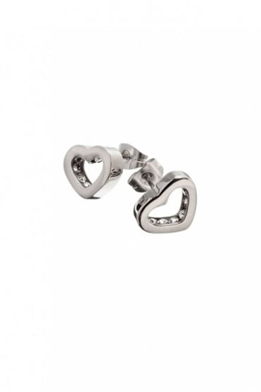Monaco Heart Studs in Steel