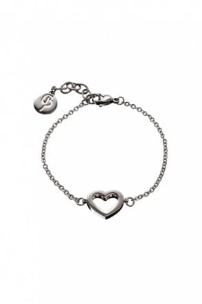 Monaco Heart Thin Bracelet in Steel