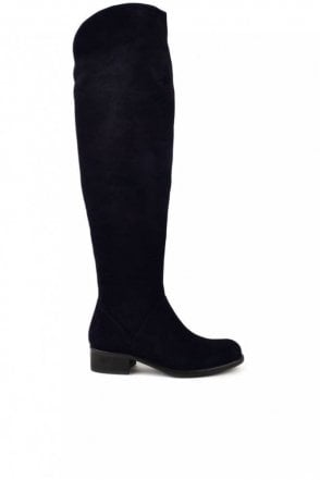 Pussycat Suede Knee High Boot in Midnight Blue