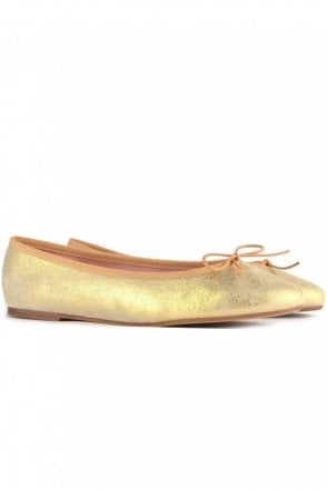 Stefania Platine Leather Ballet Flat in Gold