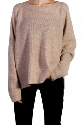 Long Rib Cashmere Sweater in Hazelnut