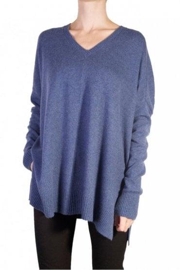 Longer Slouchy Sweater in Blue Jeans