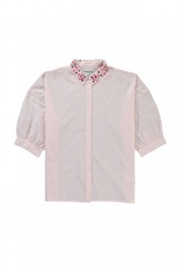 Light Pink and White Oversized Shirt With Embroidered Collar