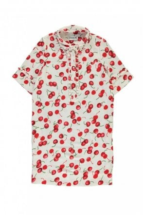 Off White and Red Cherry Print Shirt Dress With Embroidered Collar