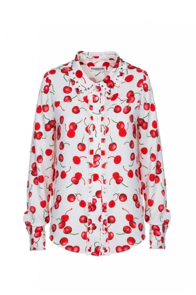 Essentiel Antwerp Paranormaal Off White Ruffled Shirt with Red Cherry Print