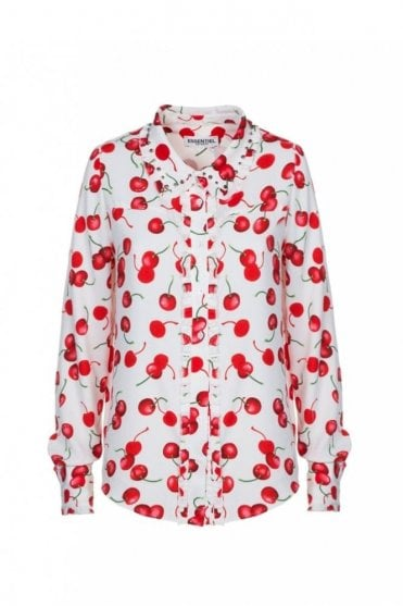 Paranormaal Off White Ruffled Shirt with Red Cherry Print