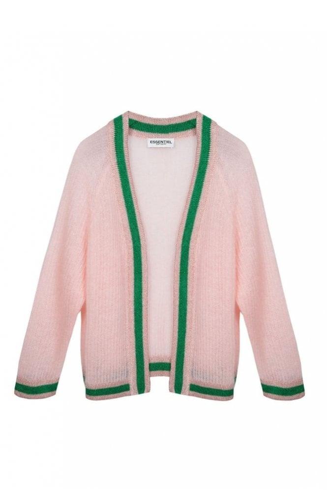 Essentiel Antwerp Patrimonio Light Pink Open Cardigan with Lurex Trimming