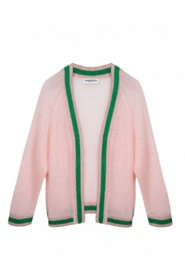 Patrimonio Light Pink Open Cardigan with Lurex Trimming