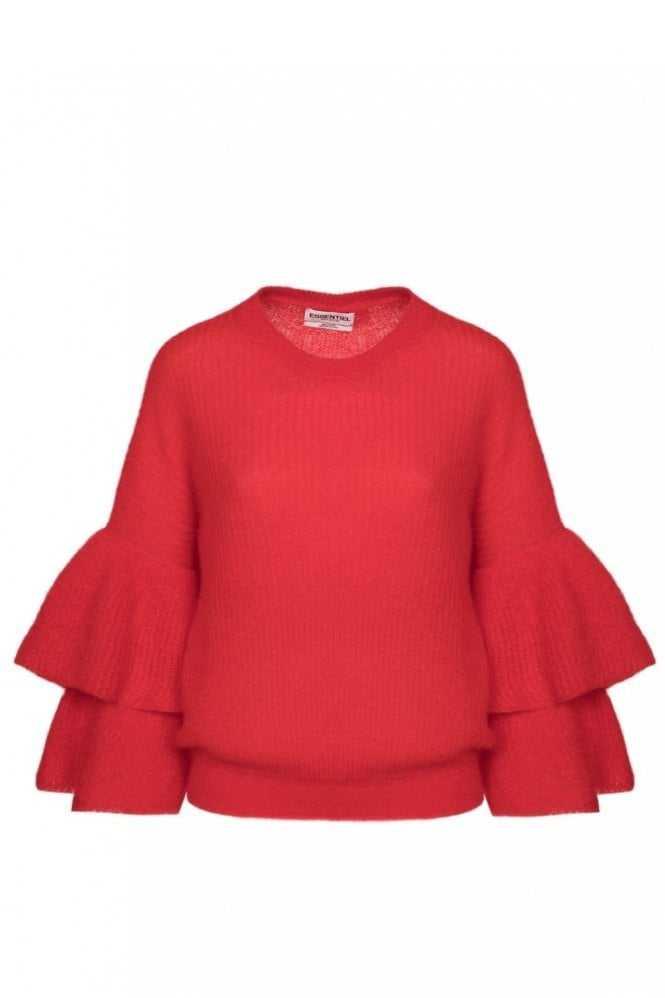 Essentiel Antwerp Pickles Red Layered Sleeves Sweater