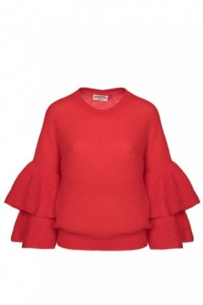 Pickles Red Layered Sleeves Sweater