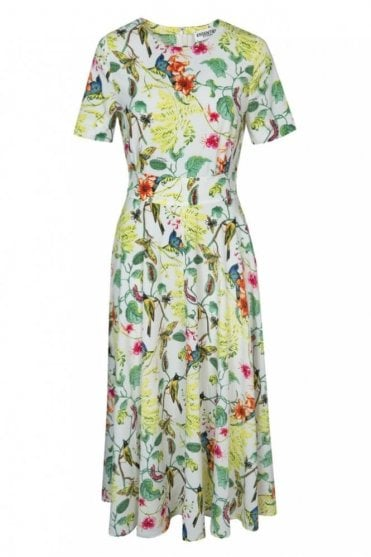 PS Off White Short Sleeved Floral Midi Dress