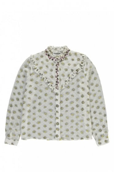 Psychology White and Yellow Embroidered Print Shirt