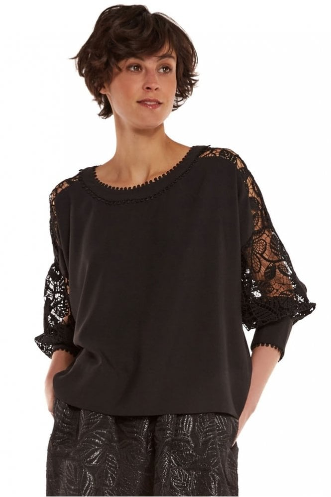 Essentiel Crepe and Lace Long Sleeve Top