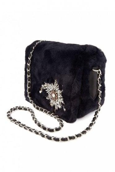 Embellished Faux Fur Shoulder Bag