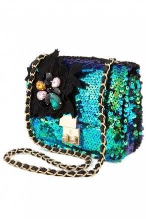 Fully Sequined Shoulder Bag in Monaco Blue