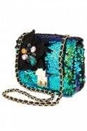 Essentiel Fully Sequined Shoulder Bag in Monaco Blue