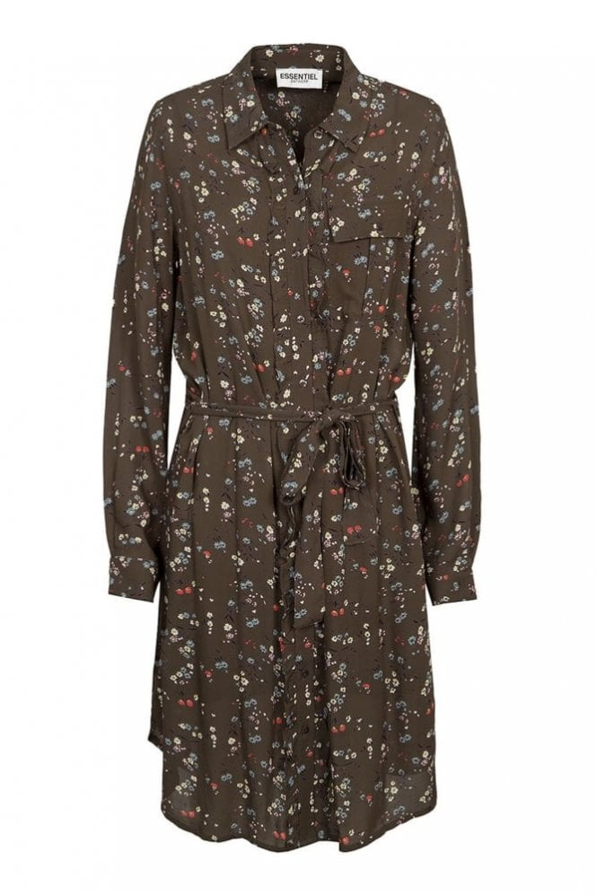 Essentiel Green and White Floral Shirt Dress