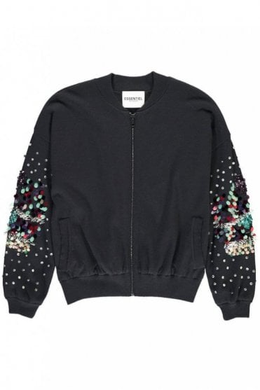 Palermo Midnight Blue Sequinned Bomber Cardigan