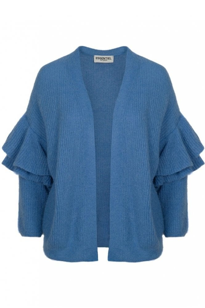 Essentiel Antwerp Palladia Cornflower Blue Ruffled Knit Cardigan