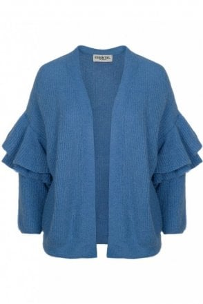 Palladia Cornflower Blue Ruffled Knit Cardigan