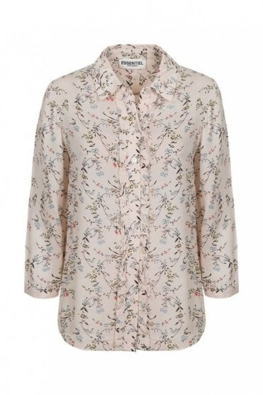 Pia White/Blue Ruffled Floral Print Shirt