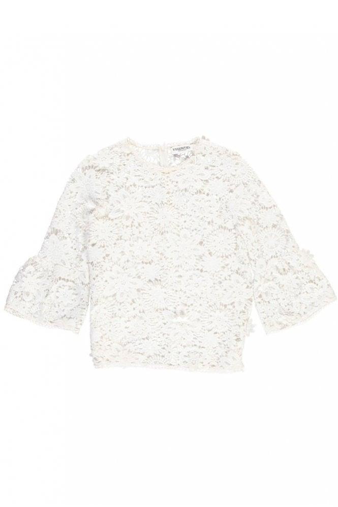 Essentiel Antwerp Pimono Off-White Floral Lace Top