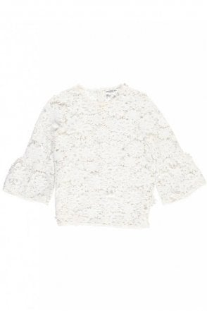 Pimono Off-White Floral Lace Top