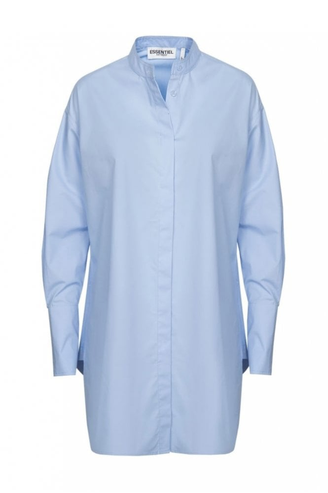 Essentiel Antwerp Purity Cornflower Blue A-Line Cotton Poplin Shirt