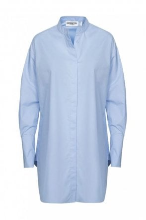 Purity Cornflower Blue A-Line Cotton Poplin Shirt