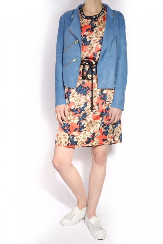 Fab by Danie Suede Paris Jacket In Denim Blue