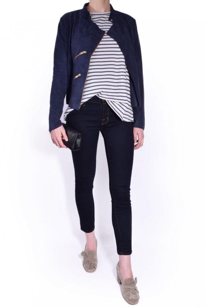 Fab by Danie Suede Paris Jacket in Navy