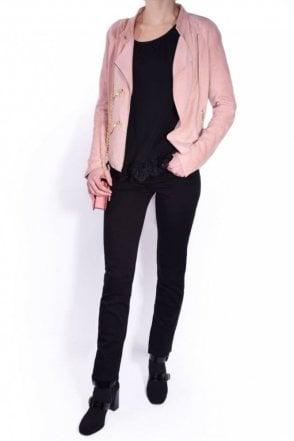 Suede Paris Jacket in Pale Pink
