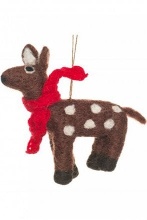 Hanging Deer with Knitted Scarf