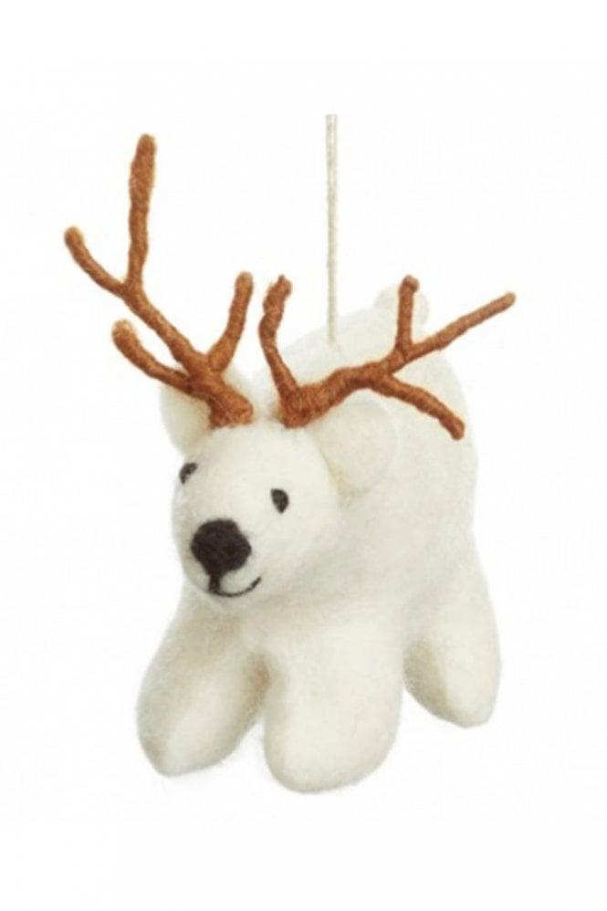 Felt So Good Polar Bear with Antlers