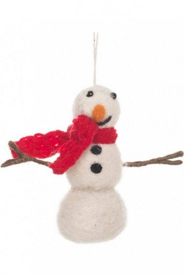 Snowman with Knitted Scarf