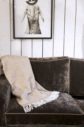 Mink & White Herringbone Mohair Throw