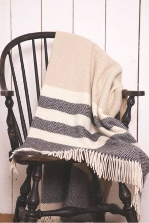 Oxford, Bone & White Stripe Throw
