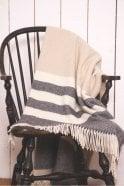 Foxford Oxford, Bone & White Stripe Throw