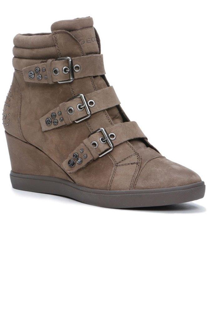6d8de707b2f1 Geox D Eleni Wedge Sneaker in Ebony Suede at Sue Parkinson