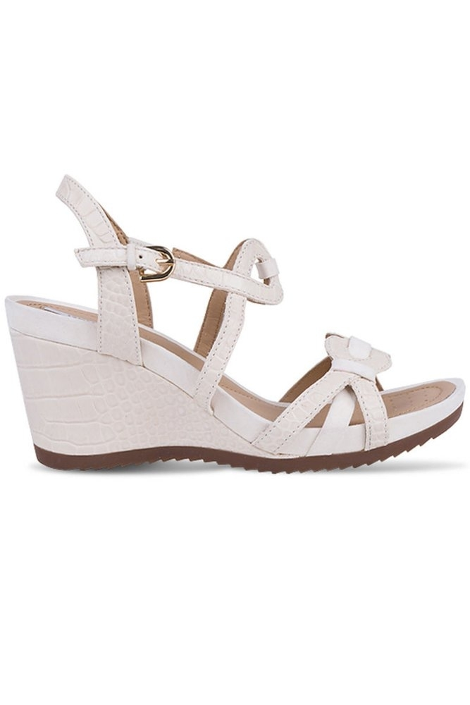 72c6a87cda7 Geox New Roxy Wedge Sandal in Milk