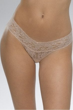 Signature Lace Low Rise Thong in Chai