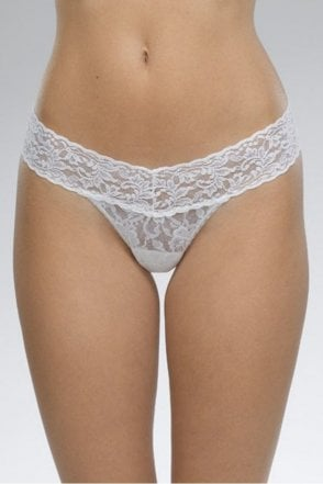 Signature Lace Low Rise Thong in White