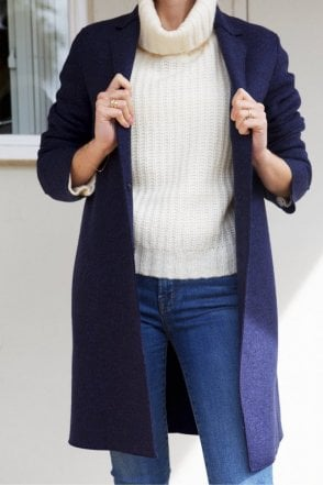 Cocoon Coat in Blue Mouline