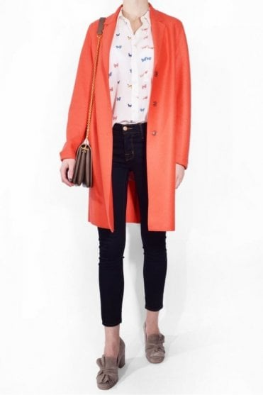Cocoon Coat in Coral
