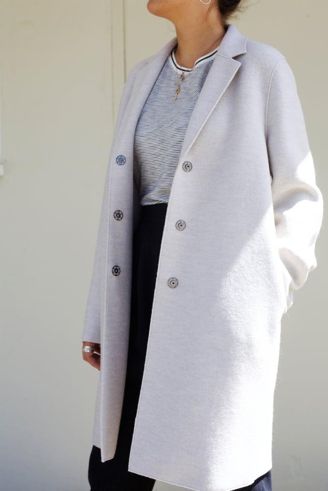 harris wharf london cocoon coat in ecru in cerulean. Black Bedroom Furniture Sets. Home Design Ideas
